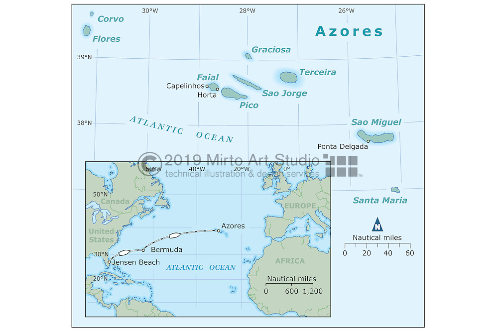 digital vector map illustration for the Azores, Portuguese islands in the North Atalantic Ocean. The island include Corvo, Flores, Faial, Pico, Graciosa, Terceira, Sao Jorge, Sao Miguel, and Santa Maria.<br /> The illustration also show a locator map covering the eastern seaboard of the Unitied States Canada, and the Caribbean.