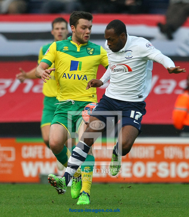 Jonny Howson of Norwich and Kyel Reid of Preston in action during the FA Cup match at Deepdale, Preston<br /> Picture by Paul Chesterton/Focus Images Ltd +44 7904 640267<br /> 03/01/2015