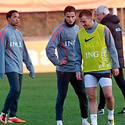 NLD/Katwijk/20110321 - Training Nederlandse Elftal Hongarije - NLD, Urby Emanuelson, Ibrahim Affalay en Raphael van der Vaart