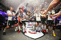 Free to use courtesy of Sky Bet. Goalscorer Tom Cairney of Fulham and his teammates celebrate in the dressing room after winning the game 0-1 to win the Sky Bet Championship Play-Off Final and secure Promotion to the Premier League - Rogan/JMP - 26/05/2018 - FOOTBALL - Wembley Stadium - London, England - Aston Villa v Fulham - Sky Bet Championship Play-Off Final.