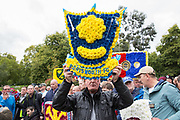 Portsmouth Football Club wreath during the Football Lads Alliance march between Park Lane and Westminster Bridge, London on 7 October 2017. Photo by Phil Duncan.