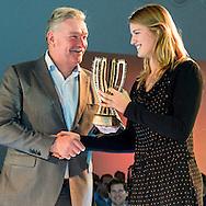 Uitreiking Sportprijs Utrecht 2014 at Jaarbeurs Utrecht: (L-R) Dafne Schippers (met beker) ontvangt van FC Utrecht eigenaar Frans van Seumeren haar prijs van de uitverkiezing van de sportvrouw van het jaar 2014 uit Utrecht
