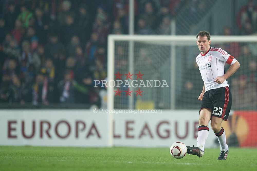 PRAGUE, CZECH REPUBLIC, Thursday, February 17, 2011: Liverpool's captain Jamie Carragher in action against AC Sparta Prague during the UEFA Europa League Round of 32 1st leg match at the Letna? Stadion . (Photo by David Rawcliffe/Propaganda)