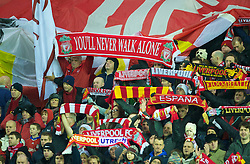 LIVERPOOL, ENGLAND - Wednesday, December 15, 2010: Liverpool's supporters on the famous Spion Kop sing You'll Never Walk Alone before the UEFA Europa League Group K match against FC Utrecht at Anfield. (Photo by: David Rawcliffe/Propaganda)
