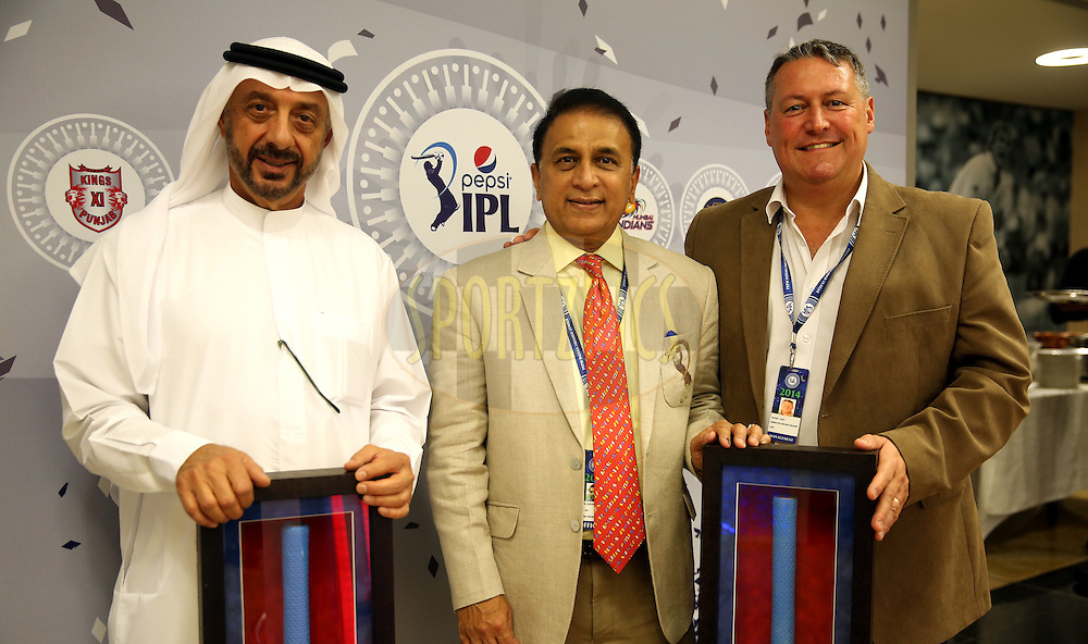 Omar AL Askari Director , Emirates Cricket board,Sunil Gavaskar interim President of BCCI and David East CEO at Emirates Cricket Board and Abu Dhabi Cricket Club during match 20 of the Pepsi Indian Premier League Season 2014 between the Mumbai Indians and the Sunrisers Hyderabad held at the Dubai International Stadium, Dubai, United Arab Emirates on the 30th April 2014<br /> <br /> Photo by Sandeep Shetty / IPL / SPORTZPICS