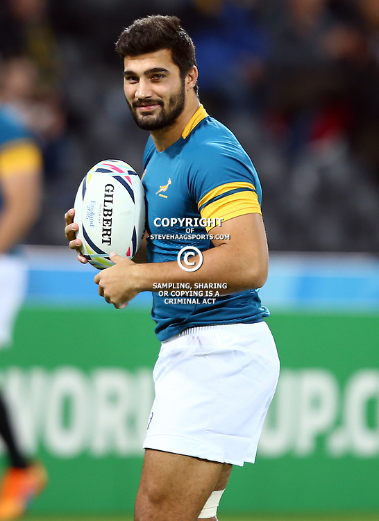 LONDON, ENGLAND - OCTOBER 30: Damian de Allende of South Africa during the Rugby World Cup 3rd Place Playoff match between South Africa and Argentina at Olympic Stadium on October 30, 2015 in London, England. (Photo by Steve Haag/Gallo Images)