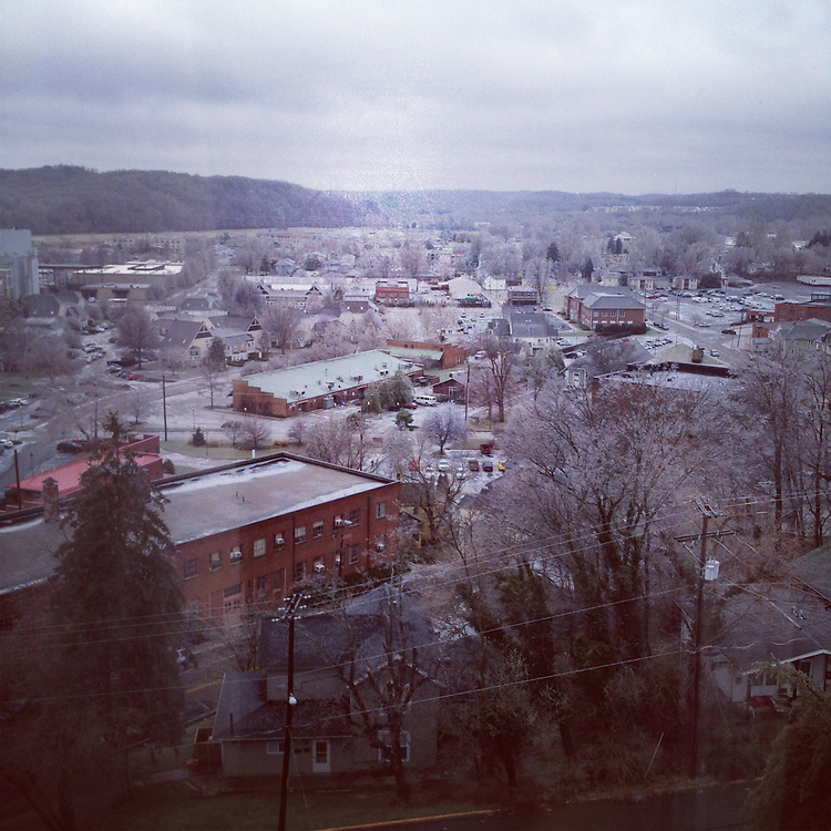 A view of the ice storm that hit Athens overnight from a 9th floor dorm room window in Bromley Hall, Saturday, January 21, 2012.