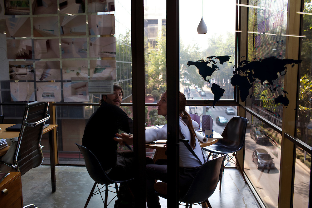 Tatiana Bilbao works with Damian Figueroa, an architect, inside her office in Mexico City.