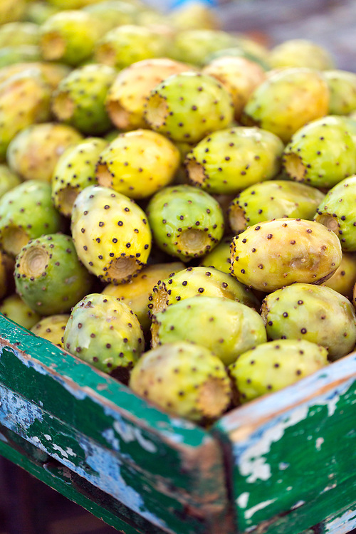 Prickley pear - a cacti fruit which is a popular street food snack all across Morocco, Moulay Idriss Zerhoun, Middle Atlas, Morocco, 2016-08-10.