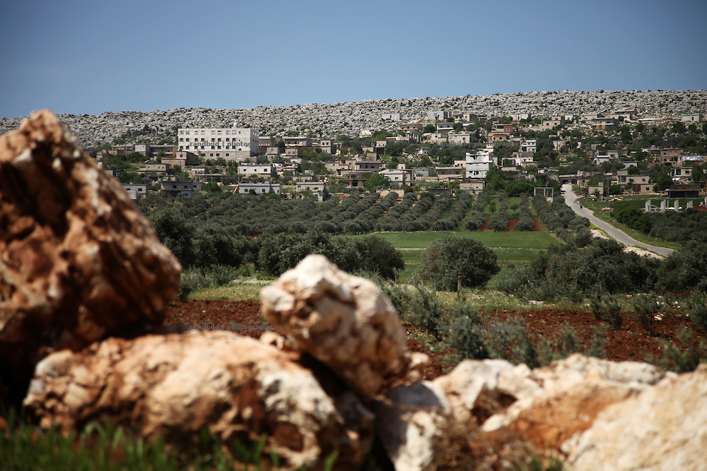 A general view of the village of Bashirija which was beeing attacked by syrian Army in early April, leaving serveral people dead. Many houses were set on fire and livestock were shot dead by Assad loyal forces raging for two days. Later nighbours buried bodies of inhabitants hasty in a mass grave.