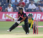 Suzie Bates shovels the ball for four past wicket keeper Lizelle Lee during the international T20 between South Africa Women and the White Ferns at the Brightside Ground, Bristol. Photo: Graham Morris/www.photosport.nz 28/06/18 NZ USE ONLY