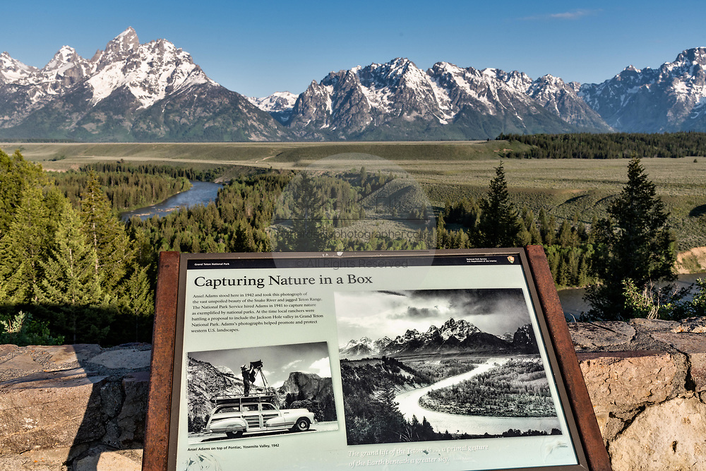 Iconic Snake River Overlook showing Mount Moran and the Grand Teton mountains in the Grand Teton National Park near Moose, Wyoming. The view was made famous by photographer Ansel Adams.