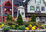 Colorful Kennebunkport town center, Maine, USA.