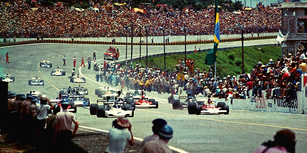 Start of 1974 Grand Prix of Brazil at Interlagos; Photo by Pete Lyons 1974/www.petelyons.com
