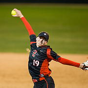 02 March 2018: San Diego State softball closes out day two of the San Diego Classic I at Aztec Softball Stadium with a night cap against CSU Northridge. San Diego State relief pitcher Alex Formby (19) seen here in the top of the fifth inning. The Aztecs dropped a close game 2-0 to the Matadors. <br /> More game action at sdsuaztecphotos.com