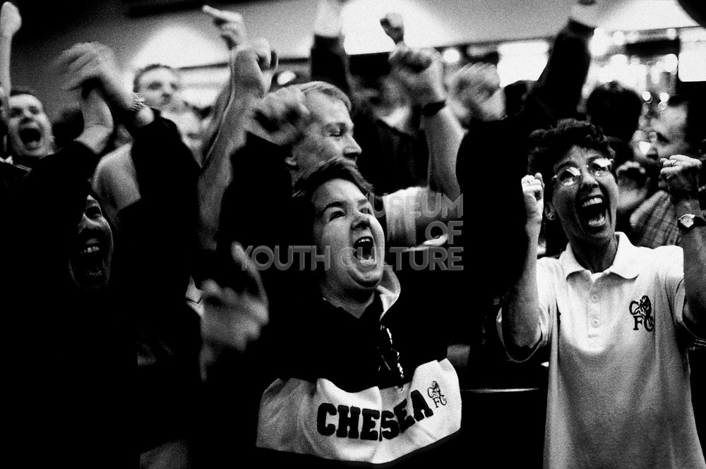 Chelsea football fans at In the Shed Bar, U.K, Season 1999/2000.