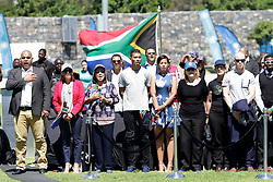 Monday 17th October 2016.<br /> Grand Parade & Greenpoint Athletics Stadium, Cape Town,<br /> Western Cape, South Africa.<br /> <br /> Cape Town Honours South African Olympic And Paralympic Heroes<br /> <br /> Olympic Champion and 400 Metre World Record Holder Wayde Van Niekerk along with other dignitaries sings the National Anthem at Greenpoint Athletics Stadium.<br /> <br /> Cape Town honours the South African Olympic and Paralympic heroes during a special celebratory event held in Cape Town, Western Cape, South Africa on Monday 17 October 2016.<br /> <br /> Picture By: Mark Wessels / Real Time Images.