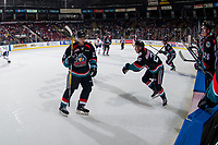 KELOWNA, CANADA - SEPTEMBER 22: Colum McGauley #23 skates to the bench as Conner Bruggen-Cate #20 of the Kelowna Rockets enters the ice on September 22, 2017 at Prospera Place in Kelowna, British Columbia, Canada.  (Photo by Marissa Baecker/Shoot the Breeze)  *** Local Caption ***