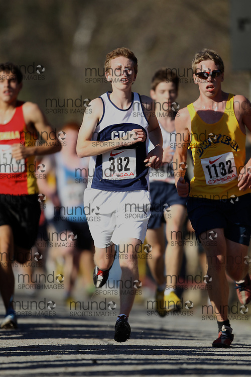 Spencer Fontein of Country Day School competes in the senior boys race at the 2011 OFSAA Cross Country Championships in Ottawa, Ontario, November 5, 2011..GEOFF ROBINS/ Mundo Sport Images