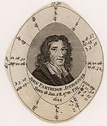 John Partridge (1644-1715) English astrologer and almanac maker. Birth chart or Nativity. Engraving c1800.