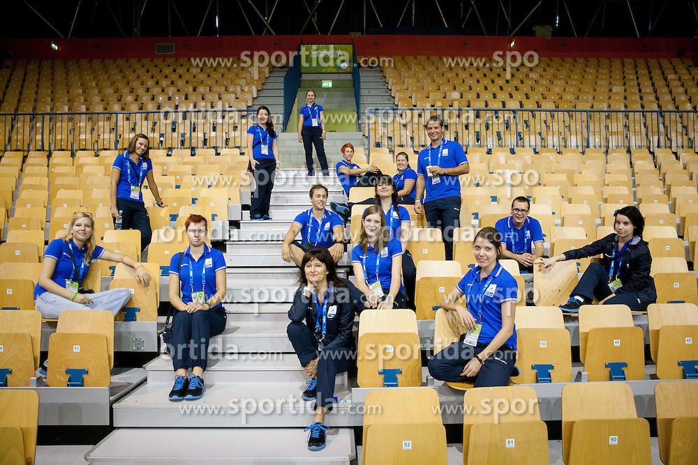 Volunteers prior to the basketball match between National teams of Spain and Georgia in Round 1 at Day 6 of Eurobasket 2013 on September 9, 2013 in Arena Zlatorog, Celje, Slovenia. (Photo by Vid Ponikvar / Sportida.com)