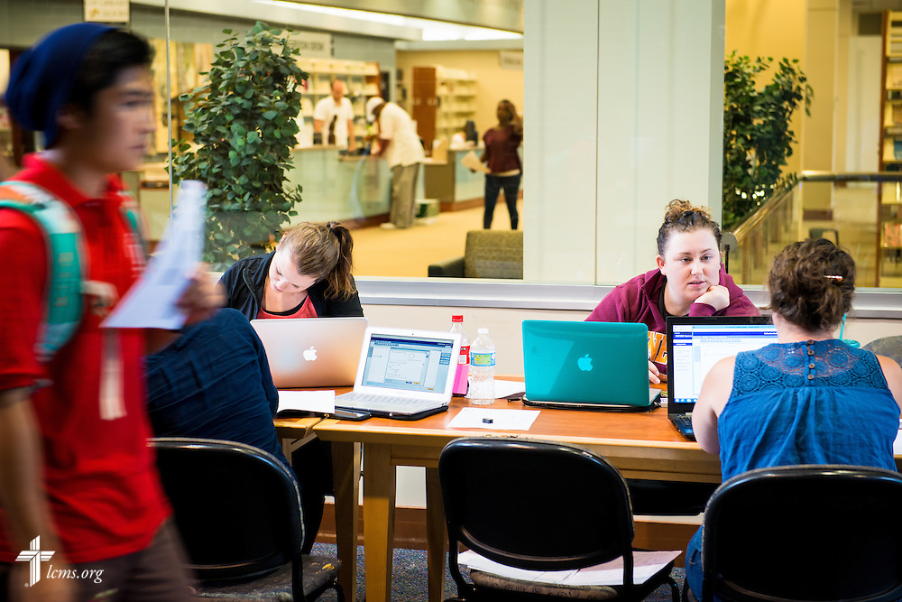 Kristina Janu (right) works in her math study group at Concordia University, Saint Paul, on Tuesday, August 5, 2014, in St. Paul, Minn. She is joined by Kayla Conrad (left).  LCMS Communications/Erik M. Lunsford