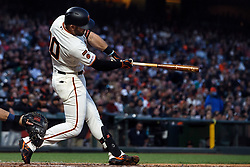 SAN FRANCISCO, CA - JUNE 12: Evan Longoria #10 of the San Francisco Giants hits an RBI single against the San Diego Padres during the fifth inning at Oracle Park on June 12, 2019 in San Francisco, California. The San Francisco Giants defeated the San Diego Padres 4-2. (Photo by Jason O. Watson/Getty Images) *** Local Caption *** Evan Longoria