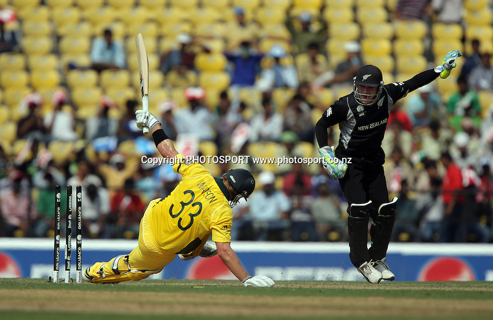Shane Watson is bowled by Hamish Bennet. ICC Cricket World Cup. New Zealand Black Caps v Australia at the Vidarbha Cricket Association Ground. Friday February 25, 2011. Nagpur, India. Photo: photosport.co.nz