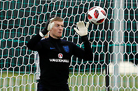 SAINT PETERSBURG, RUSSIA - JULY 10: Jordan Pickford of England national team during an Englang national team training session ahead of the 2018 FIFA World Cup Russia Semi Final match against Croatia at Stadium Spartak Zelenogorsk on July 10, 2018 in Saint Petersburg, Russia. (MB Media)