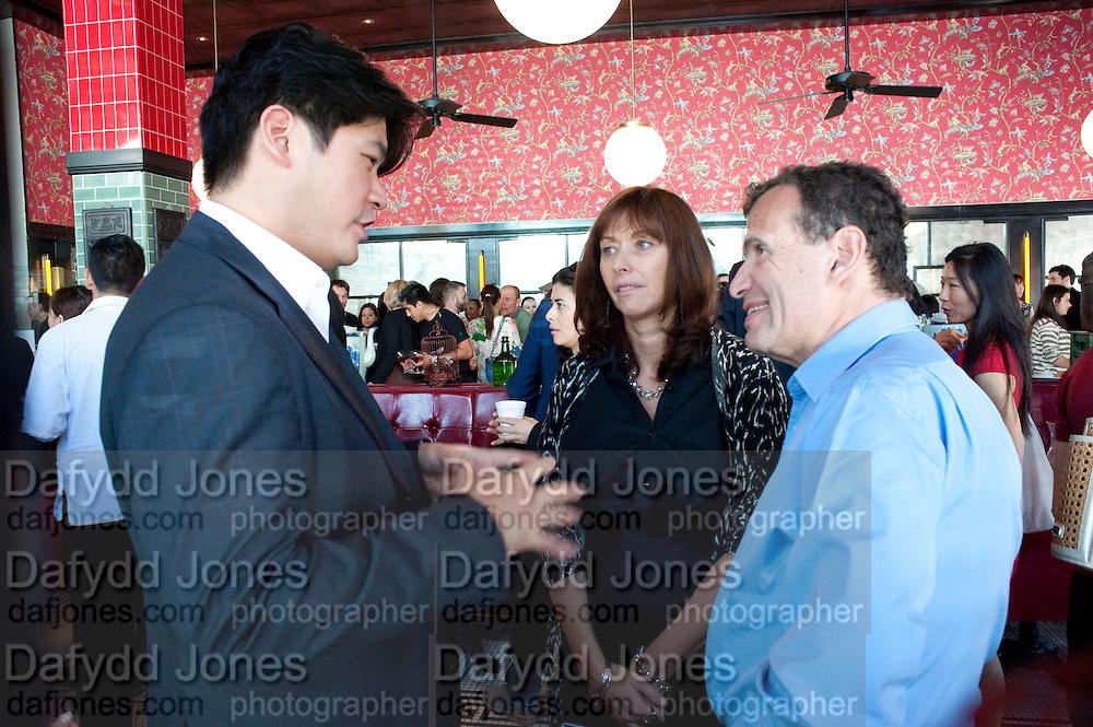 RICHARD CHANG; ANITA ZABLUDOWICZ;   POJU  ZABLUDOWICZ;   , Brunch to celebrate the launch of Art HK 11. Miss Yip Chinese Cafe. Meridian ave,  Miami Beach. 3 December 2010. -DO NOT ARCHIVE-© Copyright Photograph by Dafydd Jones. 248 Clapham Rd. London SW9 0PZ. Tel 0207 820 0771. www.dafjones.com.