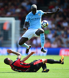 Steve Cook of Bournemouth tackles Benjamin Mendy of Manchester City - Mandatory by-line: Alex James/JMP - 26/08/2017 - FOOTBALL - Vitality Stadium - Bournemouth, England - Bournemouth v Manchester City - Premier League