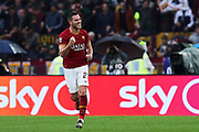 Jordan Veretout of AS Roma celebrates after scoring 2-0 goal during the Italian championship Serie A football match between AS Roma and SSC Napoli at the Olympic Stadium, Saturday, Nov. 2, 2019, in Rome. Roma defeated Napoli 2-1.(Federico Proietti/Image of Sport)