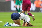 Chloe Peplow (Tottenham Hotspur) injured during the FA Women's Super League match between West Ham United Women and Tottenham Hotspur Women at the London Stadium, London, England on 29 September 2019.