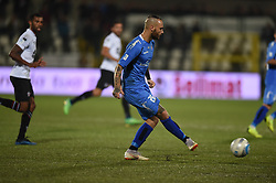November 3, 2018 - Vercelli, Italy - Italian defender Andrea Sbraga from Novara Calcio team playing during Saturday evening's match against Pro Vercelli team valid for the 10th day of the Italian Lega Pro championship  (Credit Image: © Andrea Diodato/NurPhoto via ZUMA Press)