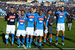 January 21, 2018 - Bergamo, Italy - Napoli players celebrate the victory at the end of the serie A match between Atalanta BC and SSC Napoli at Stadio Atleti Azzurri d'Italia on January 21, 2018 in Bergamo, Italy. (Credit Image: © Matteo Ciambelli/NurPhoto via ZUMA Press)