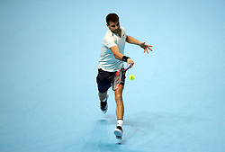 Grigor Dimitrov in action during his singles match against Dominic Thiem during day two of the NITTO ATP World Tour Finals at the O2 Arena, London.