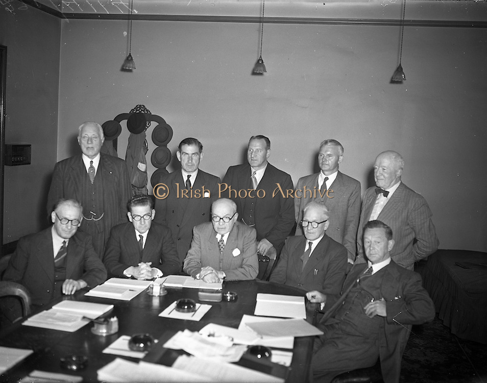 01/09/1953 <br /> 09/01/1953<br /> 01 September 1953<br /> First meeting of the Great Northern Railway Board at Amiens Street Dublin. Mr. A.P. Reynolds, Senior Director Dublin, G.N.R. (seated 2nd left) and Mr. George B. Howden, Senior Director, Belfast G.N.R. (seated centre). the G.N.R.B. was set up by the governments of Nothern Ireland and the Republic of Ireland to run the unprofitable Great Northern Railway Ireland company. The Board consisted of ten members, five appointed by each Government. The Chairmanship and Vice-Chairmanship alternating each year between Mr.Reynolds and Mr.Howden.