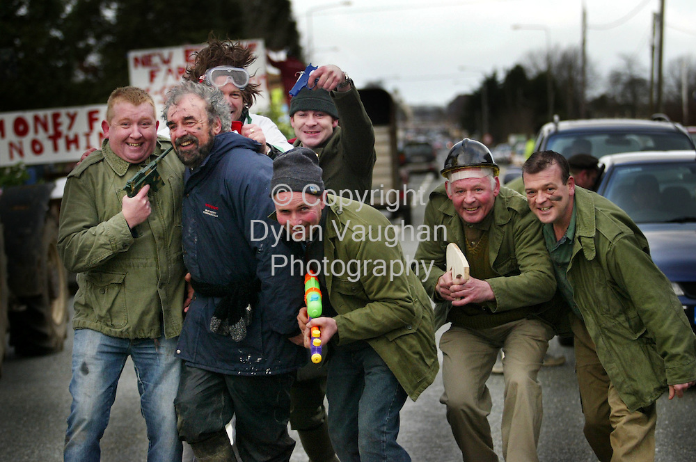 1/1/2004.Pictured at the annual wellie race parade in Castlecomer County Kilkenny yesterday was the Knockanadouge SWAT team from Castlecomer after capturing Sadam Hussien on the run..Picture Dylan Vaughan