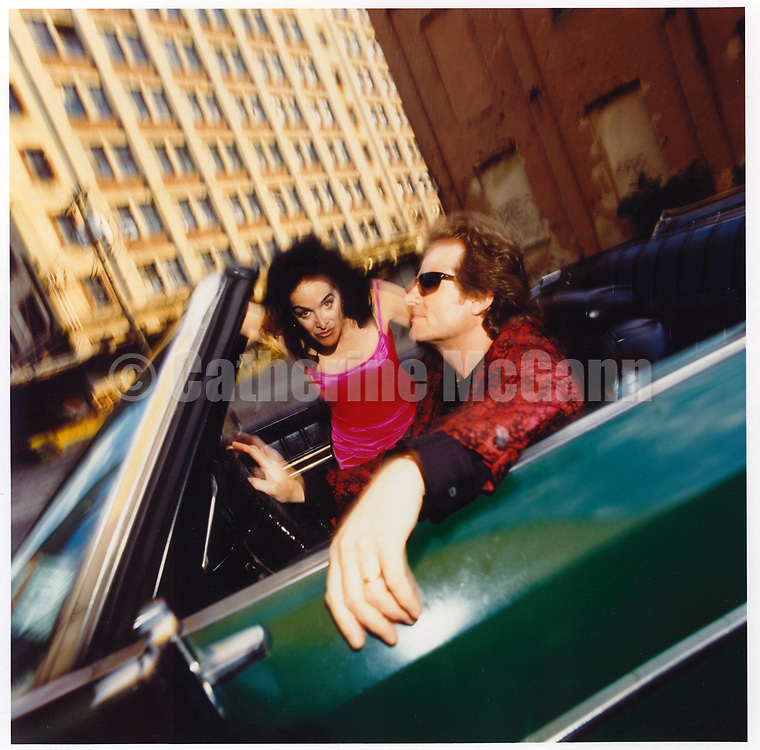 "1994:  Portrait of Diamanda Galas and John Paul Jones, sitting in a convertible car  in Jersey City, New Jersey,  shot for the release of their album ""The Sporting Life""..Copyright 2010 Catherine McGann/ All RIghts Reserved"