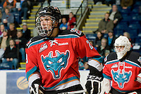 KELOWNA, CANADA, NOVEMBER 9: Myles Bell #29 of the Kelowna Rockets skates on the ice as the Red Deer Rebels visit the Kelowna Rockets  on November 9, 2011 at Prospera Place in Kelowna, British Columbia, Canada (Photo by Marissa Baecker/Shoot the Breeze) *** Local Caption ***