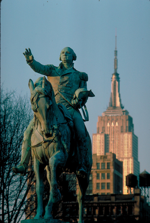 Union Square, New York City, NY, equestrian statue of George Washington, by Henry Kirke Brown, Empire State Building