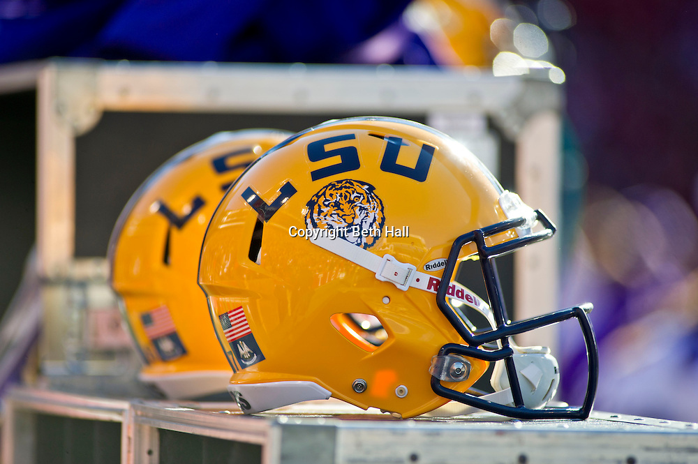 Nov 23, 2012; Fayetteville, AR, USA; An Louisiana State Tigers helmet on the sidelines druing a game against the Arkansas Razorbacks at Donald W. Reynolds Stadium.  LSU defeated Arkansas 20-13. Mandatory Credit: Beth Hall-US PRESSWIRE