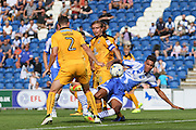 Colchester Utd forward Kurtis Guthrie goes close during the EFL Sky Bet League 2 match between Colchester United and Cambridge United at the Weston Homes Community Stadium, Colchester, England on 13 August 2016. Photo by Nigel Cole.