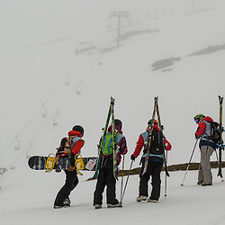 Compeitors had to hike to the top of the run because the lifts were off (c) ROSS EAGLESHAM | SportPix.eu