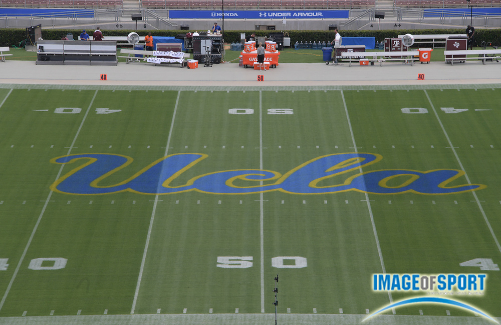 Sep 3, 2017; Pasadena, CA, USA; General overall view of the UCLA Bruins logo at midfield during a NCAA football game between the Texas A&M Aggies and the UCLA Bruinsat Rose Bowl.