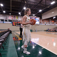 3rd year guard Michaela Kleisinger (2) of the Regina Cougars in action during the Women's Basketball Playoff Game on February  15 at Centre for Kinesiology, Health and Sport. Credit: Arthur Ward/Arthur Images