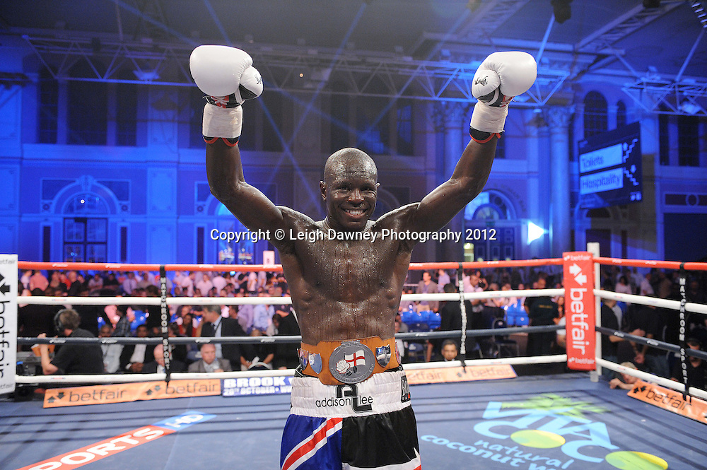 Erick Ochieng defeats Ryan Toms in a 10x3 English title contest at Alexandra Palace, Muswell Hill, North London on Saturday 8th September 2012. Matchroom Sport. Pictures © Leigh Dawney Photography 2012.