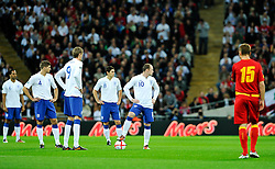 12.10.2010, Wembley Stadium, London, ENG, UEFA 2012 Qualifier, England vs Montenegro, im Bild Wayne Rooney of England has to wait for the TV before he can take the kick off, EXPA Pictures © 2010, PhotoCredit: EXPA/ IPS/ Sean Ryan *** ATTENTION *** UK AND FRANCE OUT!