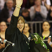 Silver Ferns coach Ruth Aitken, during her final test on New Zealand soil, acknowledges the crowd after the New Zealand V England, New World International Netball Series, at the ILT Velodrome, Invercargill, New Zealand. 6th October 2011. Photo Tim Clayton...
