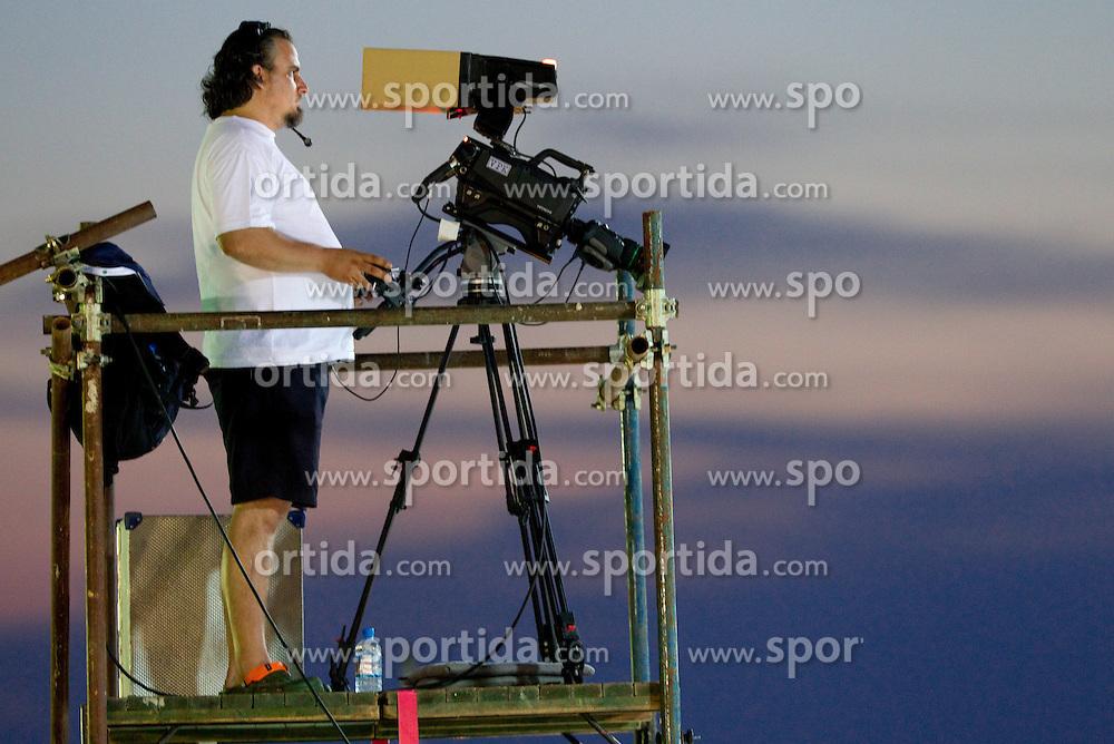 Cameraman at 2nd Round of Singles at Banka Koper Slovenia Open WTA Tour tennis tournament, on July 22, 2010 in Portoroz / Portorose, Slovenia. (Photo by Vid Ponikvar / Sportida)